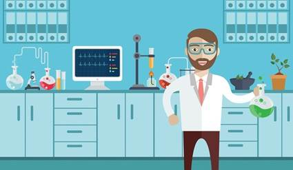 Cartoon of a chemist in a lab.